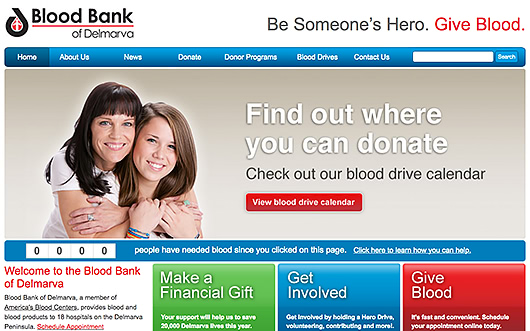 Blood Bank of Delmarva website screenshot