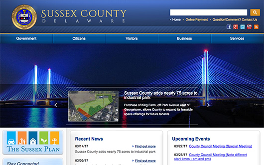 Sussex County Delaware website screenshot