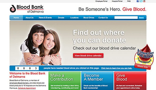 Blood Bank of Delmarva - Non-profit Providing Blood and Blood Products to Mid-Eastern/Delmarva Peninsula Hospitals, Specializes in collecting blood donations. Website designed and developed by Digital Eye LLC