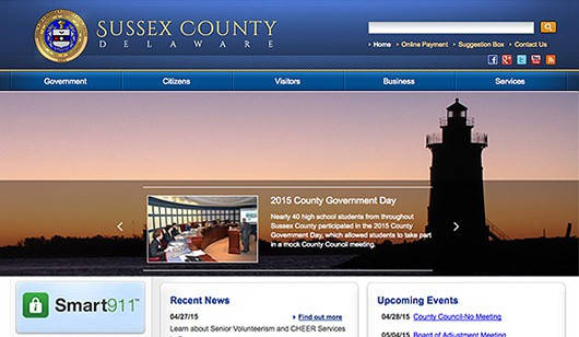 Sussex County Government website designed and developed