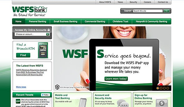 WSFS Bank - Delaware based commercial, small business and personal banking. Website designed and developed by Digital Eye LLC
